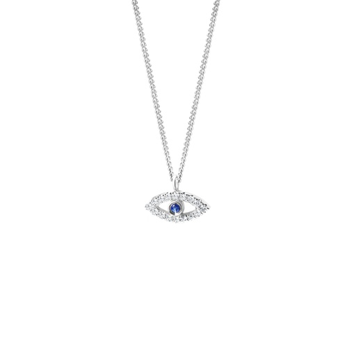 [M975] Evil Eye Diamonds & Gemstones Necklace