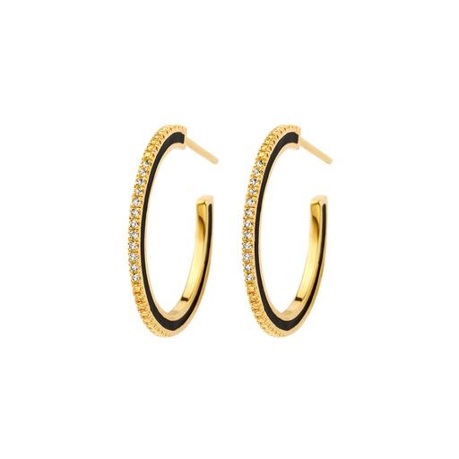 [M1439] Dark Endless Diamond Earrings